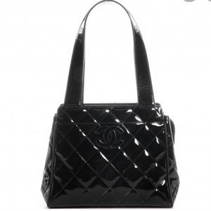 💯Auth CHANEL Vintage Quilted Patent Shopper Bag❗️